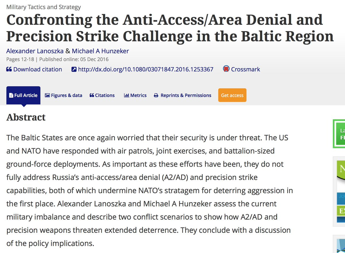 aad sur topsy one hunzeker and i have a new essay in the rusi org journal on the a2ad and precision strike challenge facing nato