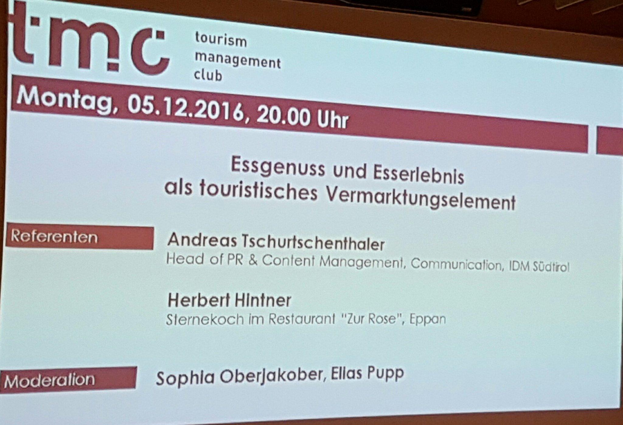 Heute bei #tmcbz. Essgenuss &  Esserlebnis als touristisches Vermarktungselement https://t.co/gLCK5td8iJ