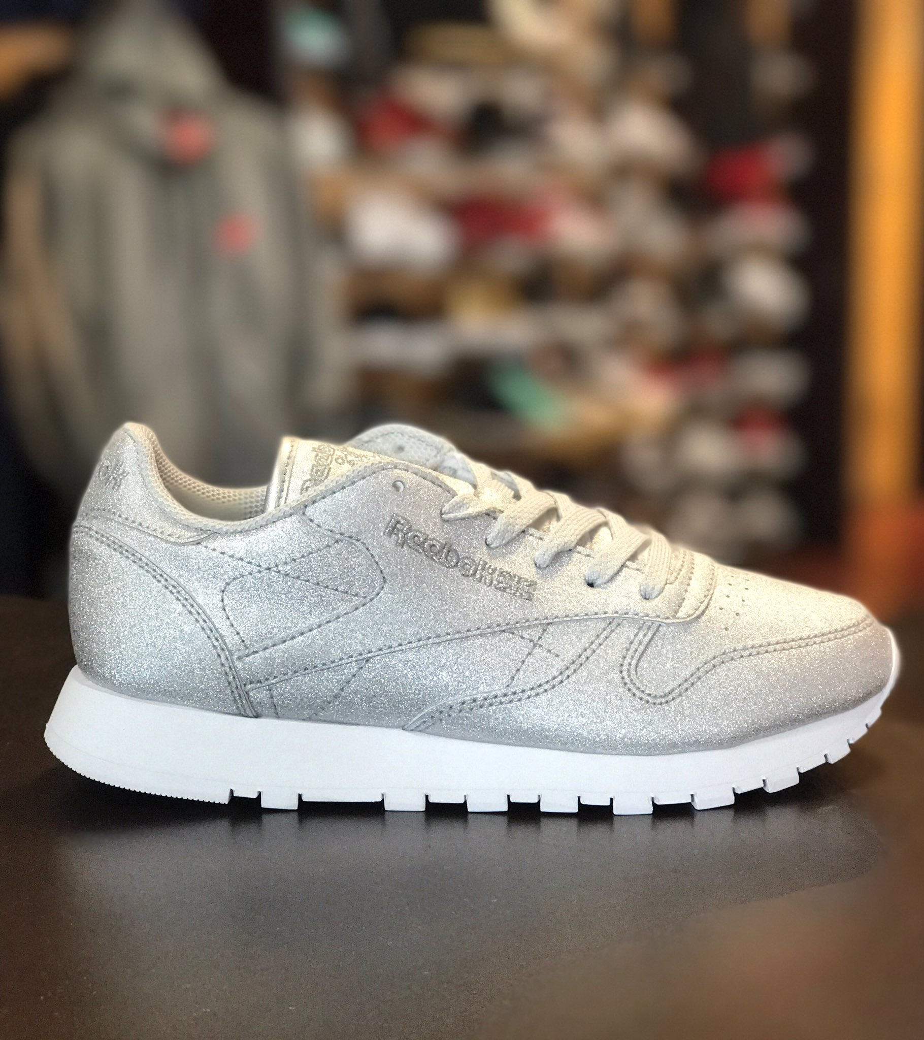 cdf9ff277f7f97 ... shoes in white gum  mister sports on twitter new arrival womens reebok  classic leather silver glitter reebok reebokclassic mistersportsu2026