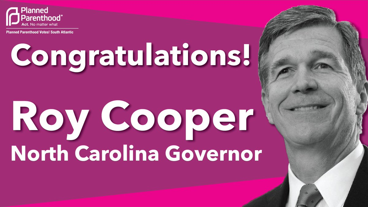 CONGRATULATIONS to @RoyCooperNC on becoming the next Governor of North Carolina! https://t.co/jRtcwPnd85