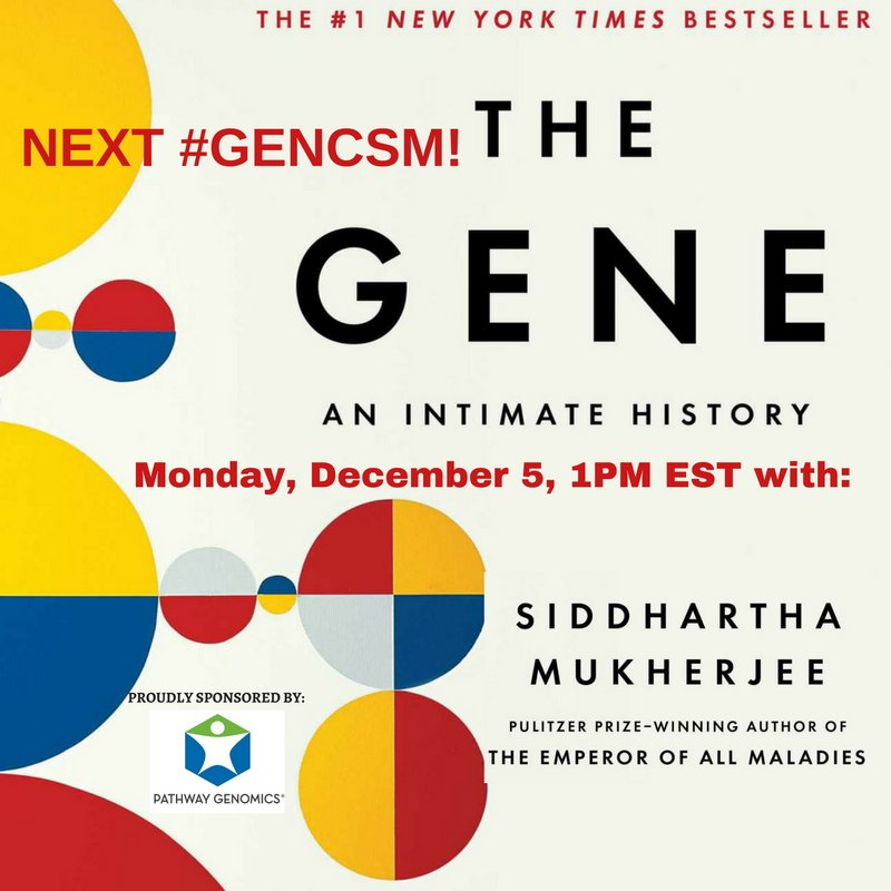 #GenCSM #THEGENE with @DrSidMukherjee @MyGeneCounsel @BRCAresponder & @ShewithLynch! https://t.co/L7Lrd0ZCic