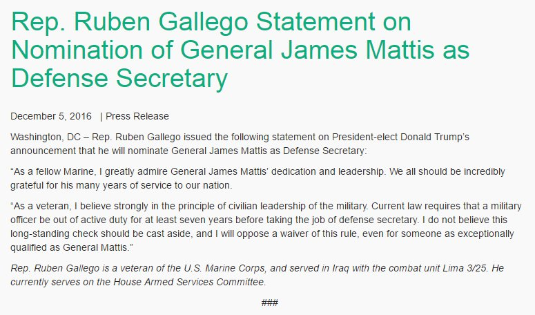 A Marine veteran in Congress opposes Mattis becoming Pentagon chief, and reaction is fierce
