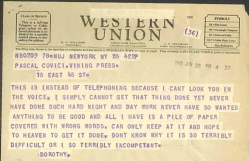 same: Dorothy Parker sends a telegram to her editor https://t.co/t5cuccXo4B