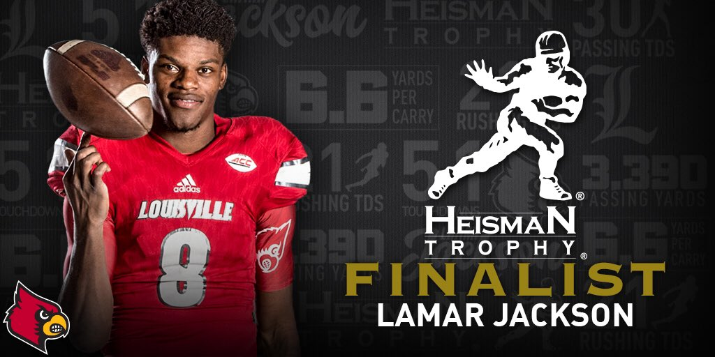 Lamar Jackson makes history as UofL's first #Heisman Trophy Finalist! #L1C4 https://t.co/9XJQO4mPif