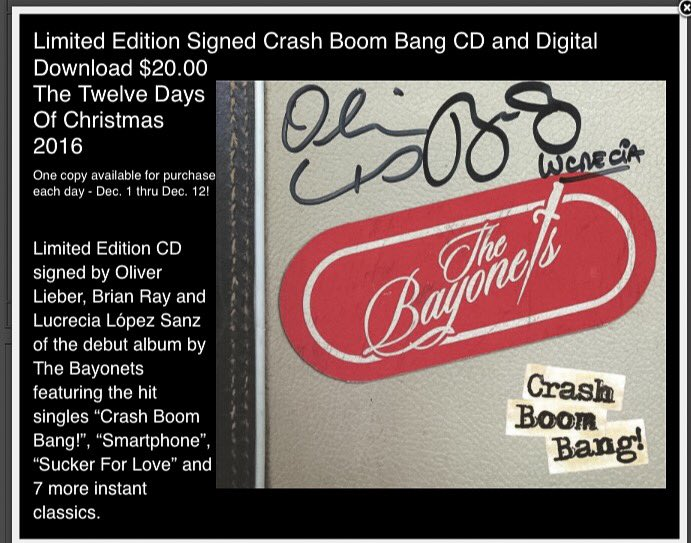 It's Day 5 of the 12 Days of Christmas ~ Rare all 3 Autographed @Bayonets CD. Only 1 each day☝️ $20 @brianrayguitar https://t.co/7QJ4XGgBXl