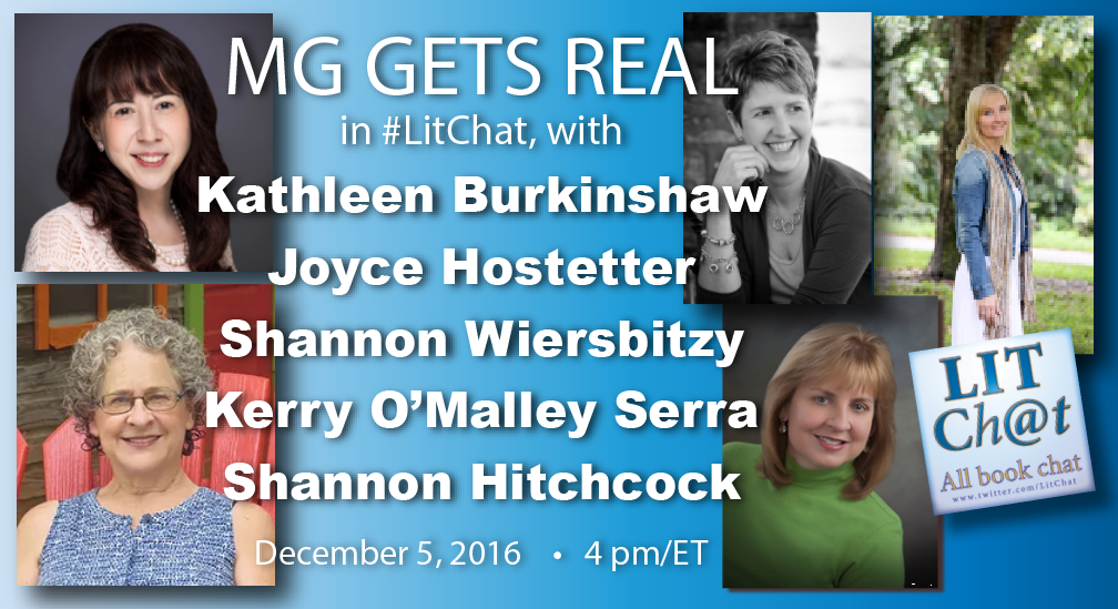 Welcome to #LitChat. Today we're discussing #MGgetsreal with five fab authors. Join us now at https://t.co/s0ZPO4Gcrh. https://t.co/WBoyHnrklg