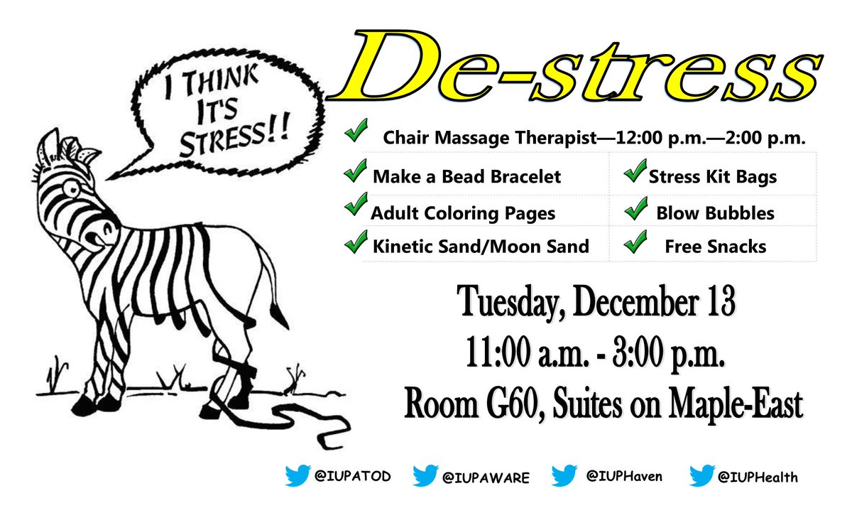 the center for health well being will be having a de stress fest on dec 13th from 1100am 300pm in suites on maple east g 60pictwittercom