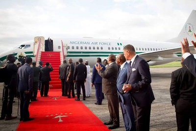 President Muhammadu Buhari departing Malabo for Abuja after participating at the 4th Africa-Arab Summit in Malabo,  capital of Equatorial Guinea .