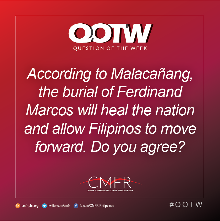 Thumbnail for QOTW: Malacañang said that the burial of Marcos will heal the nation and allow Filipinos to move forward. Do you agree?