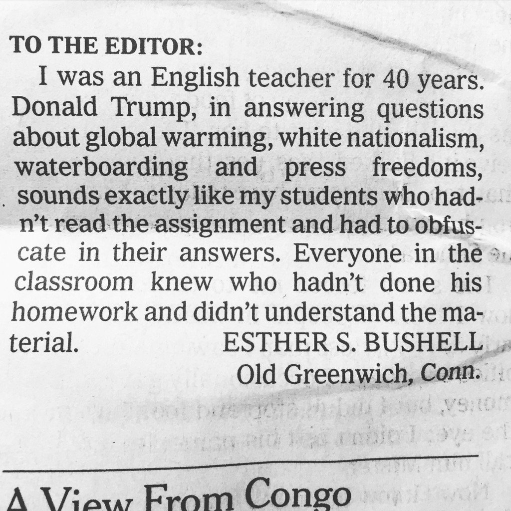 A retired English teacher evaluates Trump's meeting with the NYT in this pungent letter to the editor. https://t.co/LgbplDkXPZ
