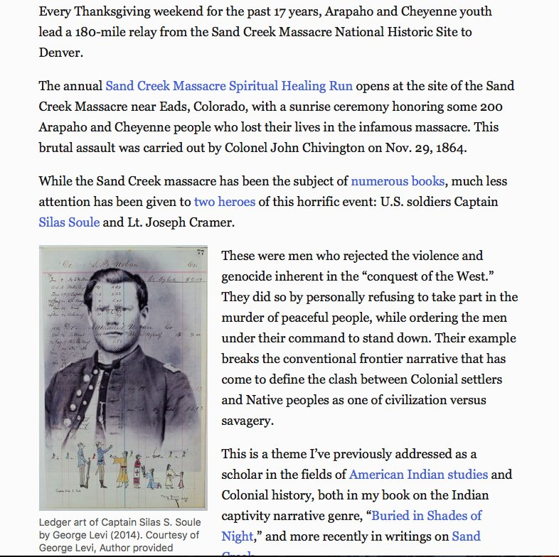 Remembering the US soldiers who refused orders to murder Native Americans at Sand Creek  https://t.co/6aqLBGxysv https://t.co/673a5nylL0