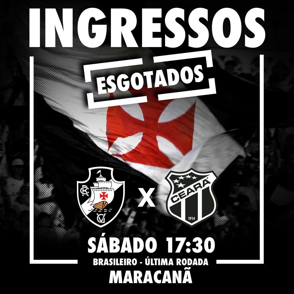 MARACA LOTADO! Os ingressos para a partida entre Vasco e Ceará, no sábado, estão esgotados. O Caldeirão vai ferver!