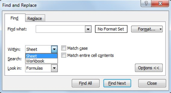 How to search for a word or phrase in ALL of the tabs in your spreadsheet: use Workbook. Ctrl+F brings up this window #mildlyusefulinfo https://t.co/N9PduWrTGV