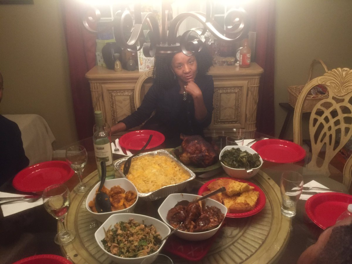 My mom made everyone get out of her picture with the food cause 'ain't nobody help'