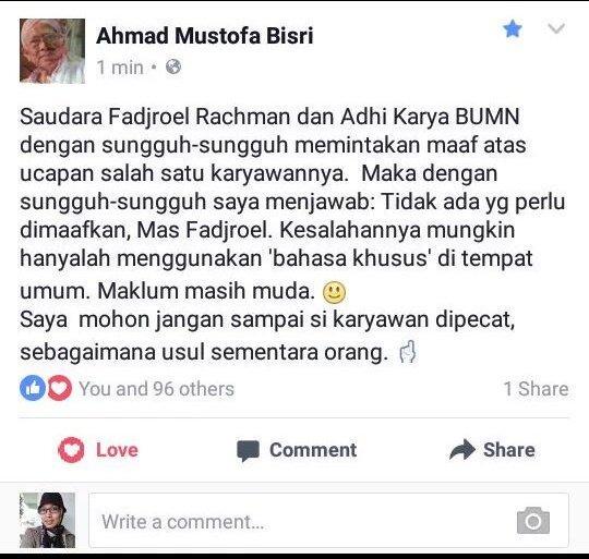 Dari Gus Mus utk penghinanya. Watak Muslim tingkat tinggi. Sungguh, kita butuh Islam Ramah, bukan Islam Marah. https://t.co/1ztFBR8DJx