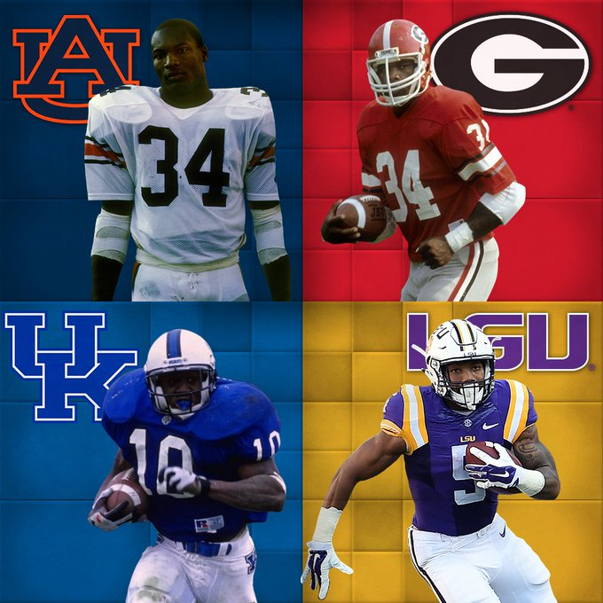 b853ee8cf Bo Jackson #34, Herschel Walker #34, Moe Williams #10, and Derrius Guice #5  Are The only SEC Players in History to have Multiple 250-Yard Rushing Games!