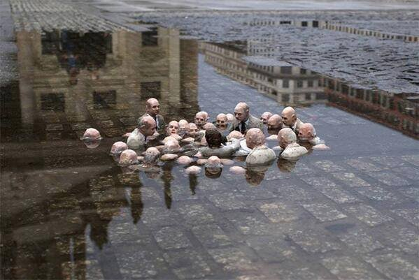 "Check out this sculpture by Issac Cordal in Berlin called ""Politicians discussing global warming."" https://t.co/73wHMvPGc8"