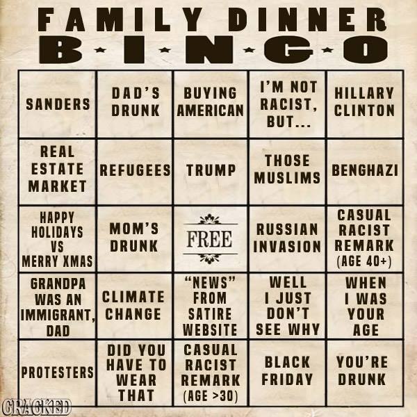 family dinner bingo did you win today learn more about