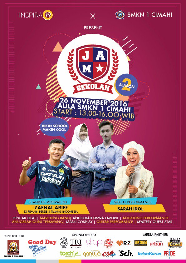 Meet TBI's team at JAM Sekolah with @inspiratv at SMKN 1 Cimahi on Sat, 26 Nov, from 1 pm til. 4 pm. Be there or be squared! #tbinfo