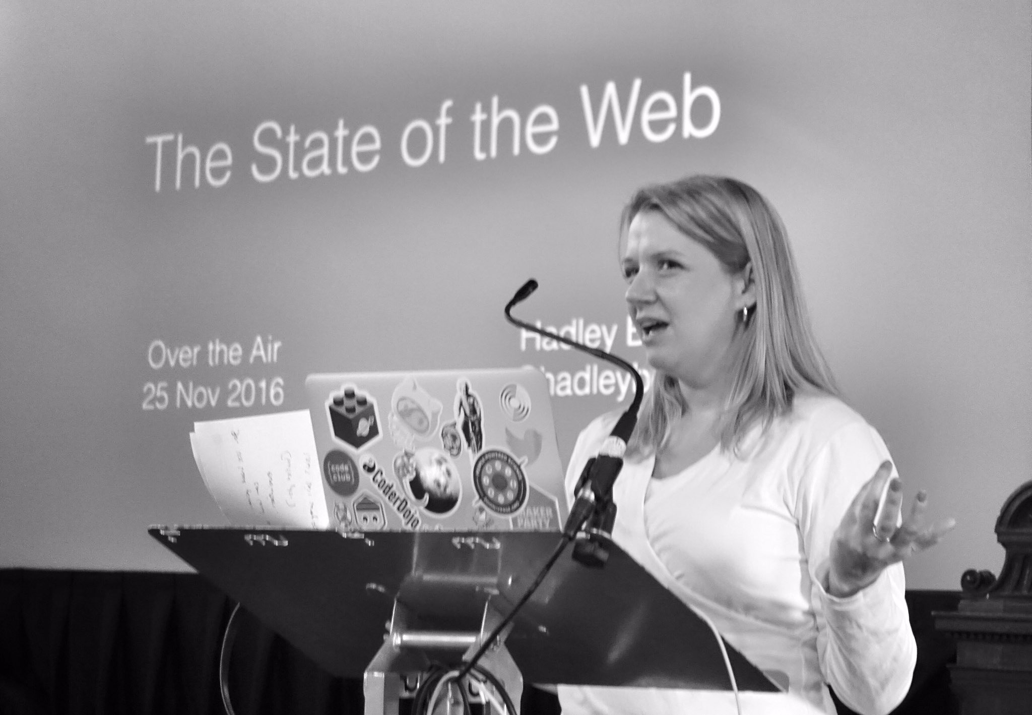 First speaker @hadleybeeman talks #brexit, Trump and what this means for devs, startups and the web. #ota16 https://t.co/RAIMP7ceE0