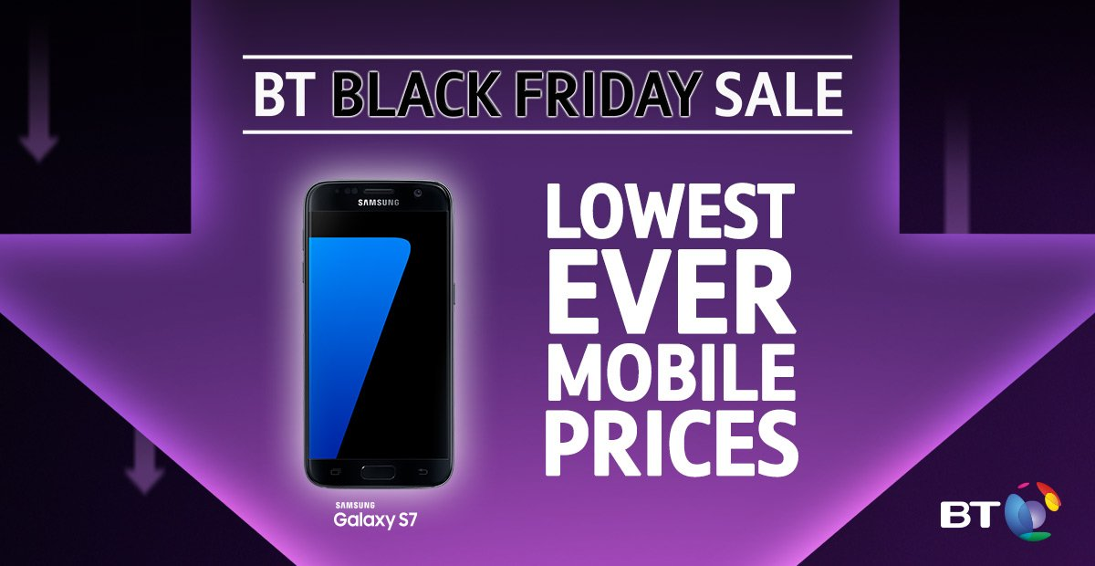 It's #BlackFriday! RT to #WIN a stunning Samsung Galaxy S7 with #BTMobile. T&Cs apply: https://t.co/A3UFu80Q8M https://t.co/bmxnLztYmZ
