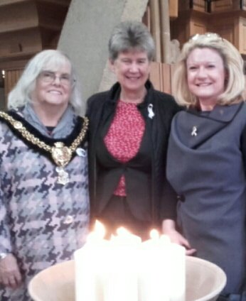 Great support at a very moving event - Andrea @TaiPawb joins Jane Hutt AM and Lord Mayor of Cardiff Cllr Monica Walsh @BAWSO #LightACandle16 https://t.co/LrShc4QMtK