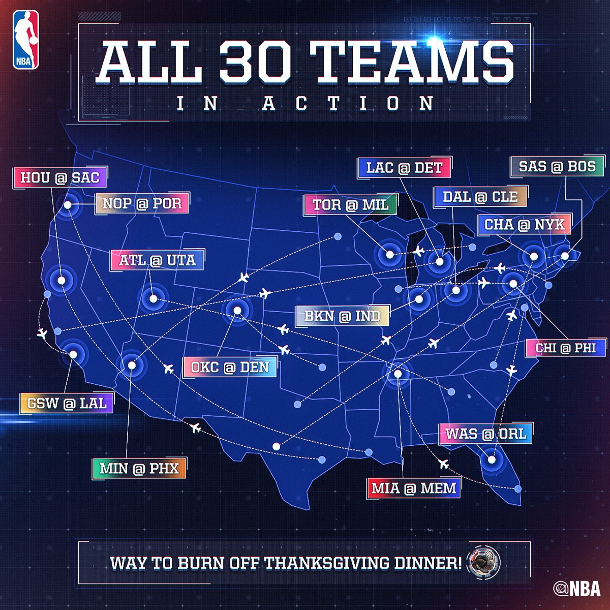 NBA On Twitter ALL NBA TEAMS ARE IN ACTION TODAY - Nba teams map