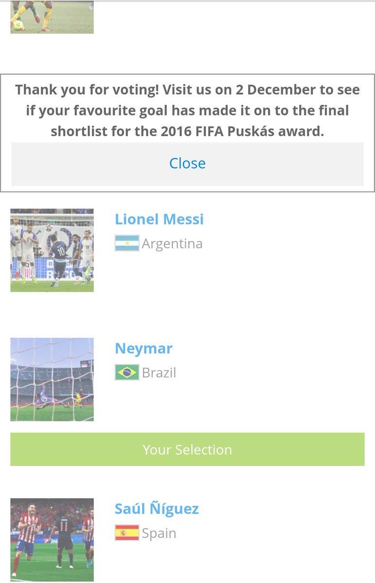 Sobrou um tempinho pra votar no golaço do @neymarjr pro Puskás 16. Já votou? #VoteNeymarJr