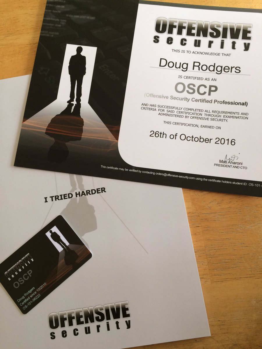 Doug Rodgers On Twitter Excited To Receive The Oscp Certification
