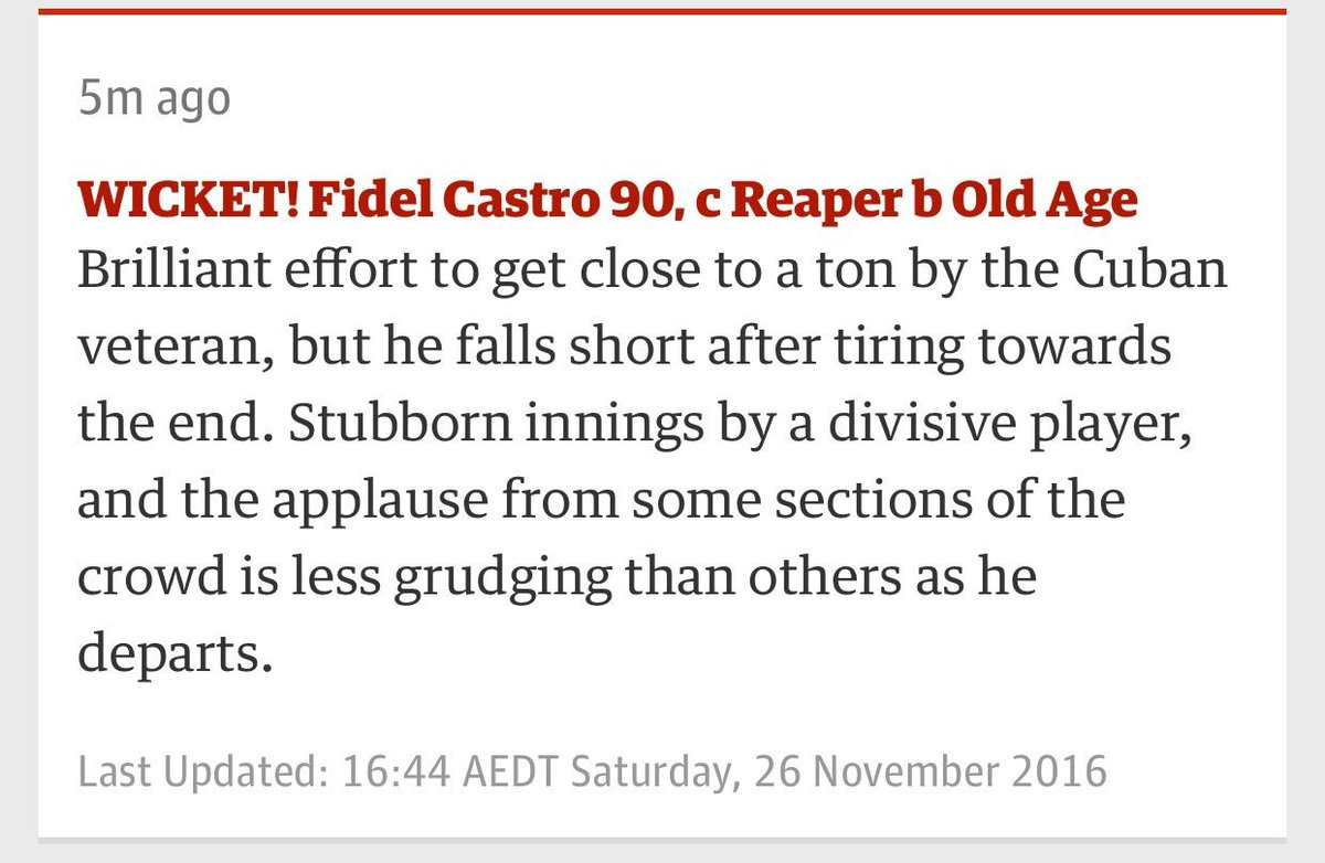 Fidel Castro gets a send off in the #AUSvSA cricket live blog https://t.co/QNvy1E6vWQ https://t.co/PujDvm2h66