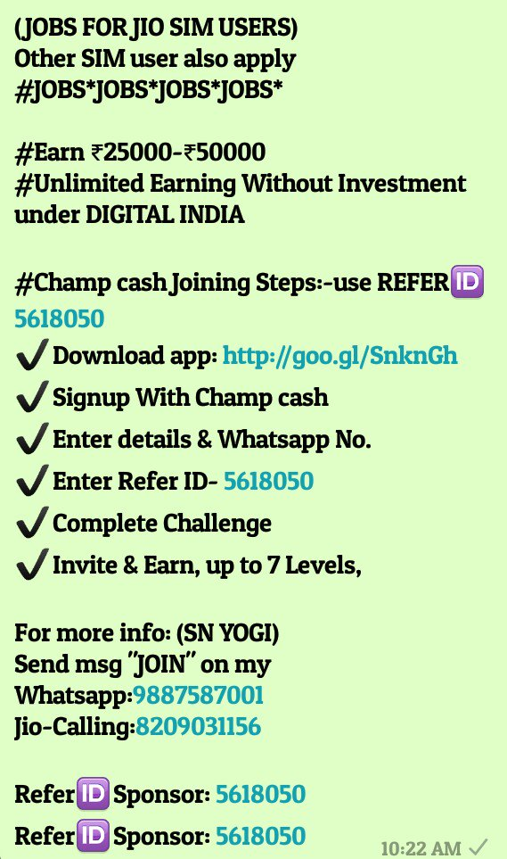 Champcash Jobs On Twitter Jobs 100 Free No Investment No Fees