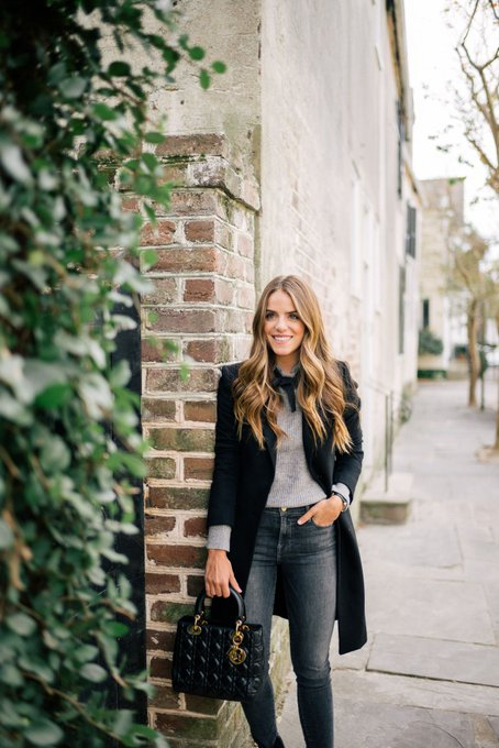 Bow Sweater & Classic Black Coat