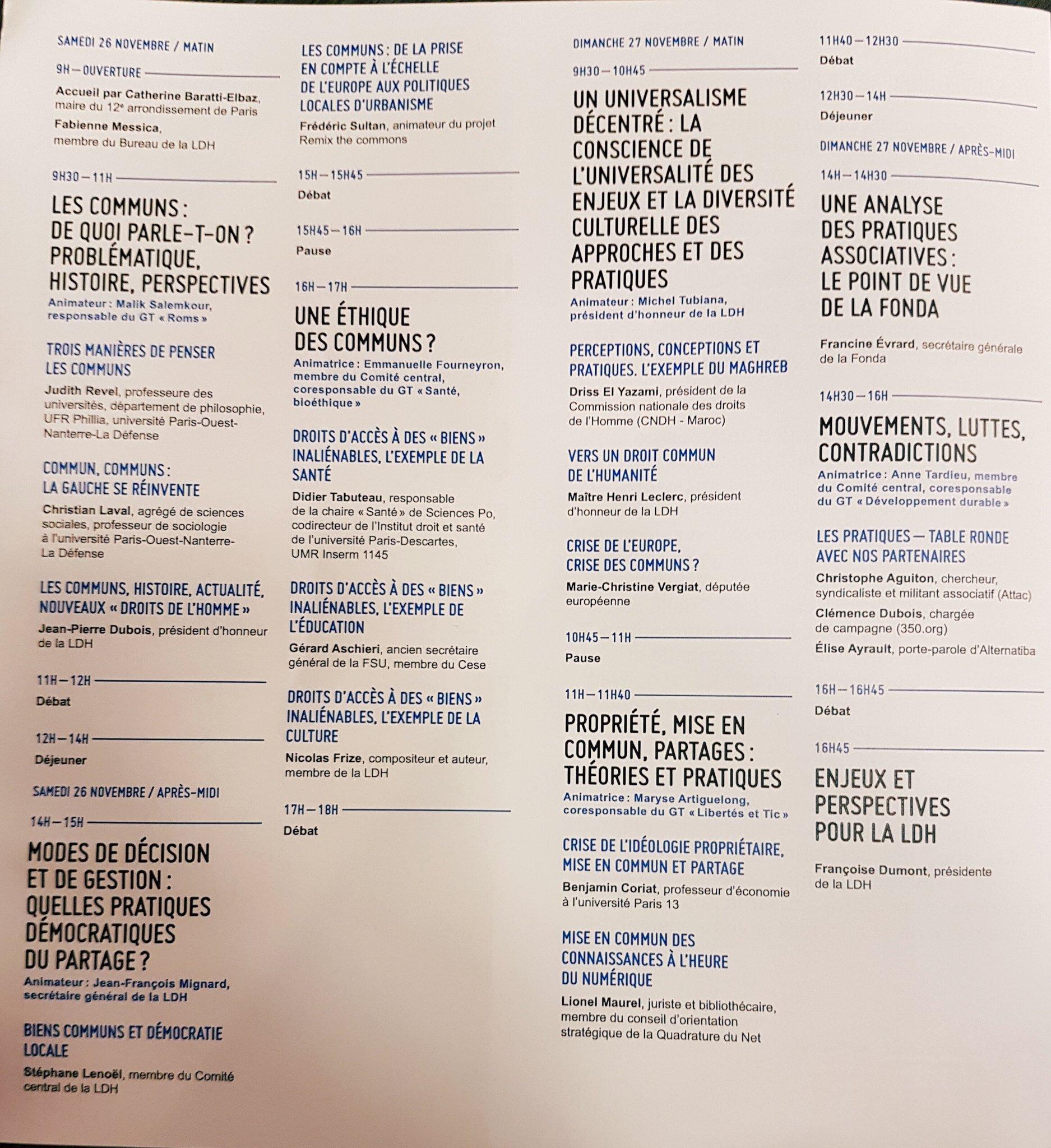 Suite du programme: 3 approches pour éclaircir les #communs: philosophique, sociologique et politique #UALDH2016 https://t.co/2w5gk1EDfp
