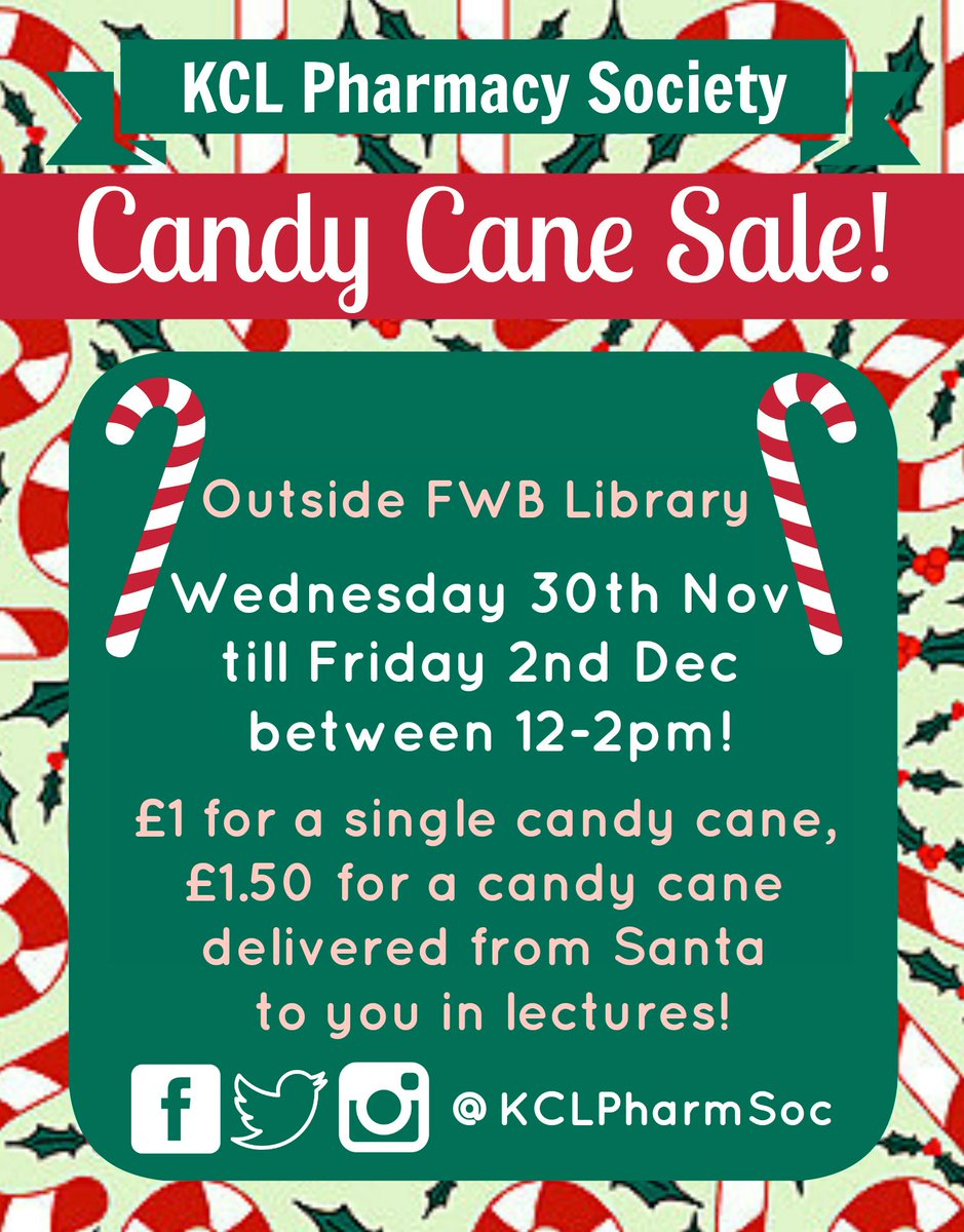 kcl pharmacy society on twitter get into the christmas spirit buy a candy cane for someone special pharmsocs very own santa will be delivering them to - How To Get Into The Christmas Spirit