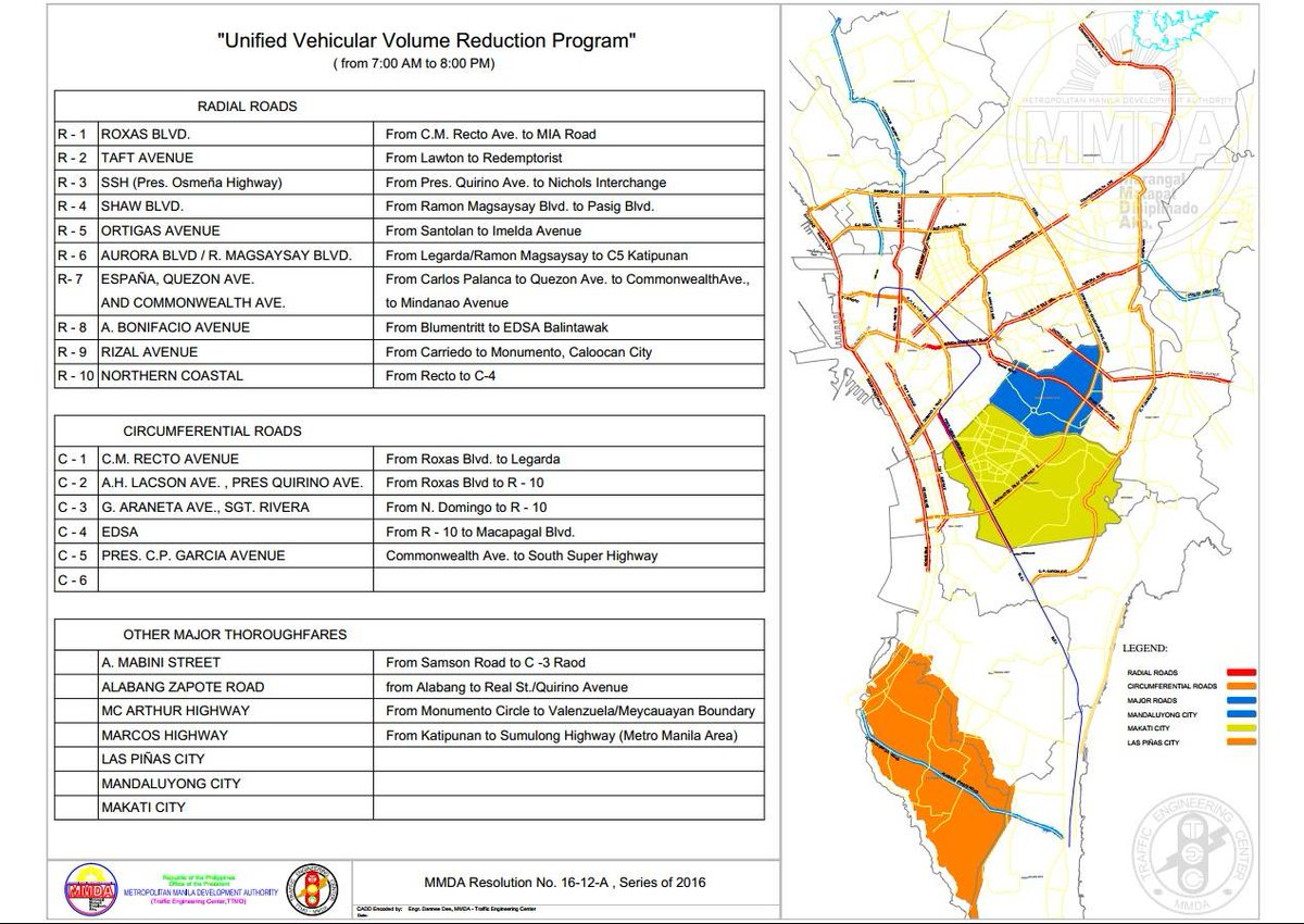 Official MMDA on Twitter ADVISORY Map of the 18 areas covered by