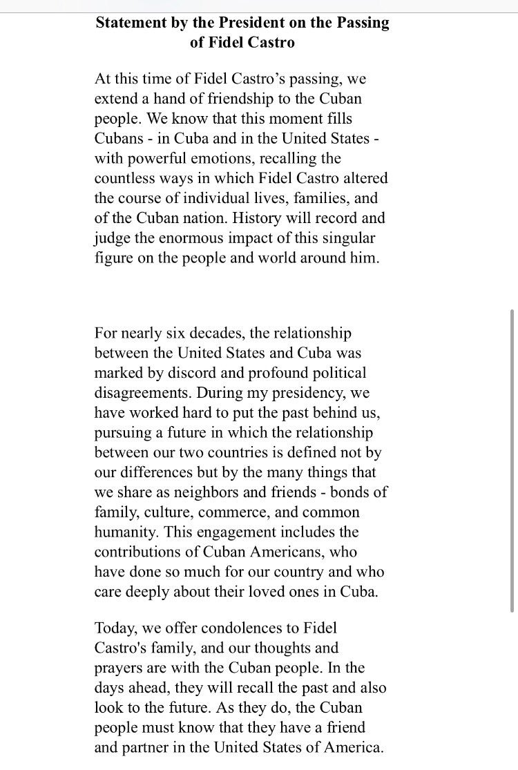 President Obama's statement on the passing of Fidel Castro. #Cuba https://t.co/c8USHluaLy