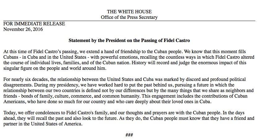 Read @POTUS's statement on the passing of Fidel Castro: https://t.co/ihVoLdqbRQ https://t.co/sPZfvpeQVB