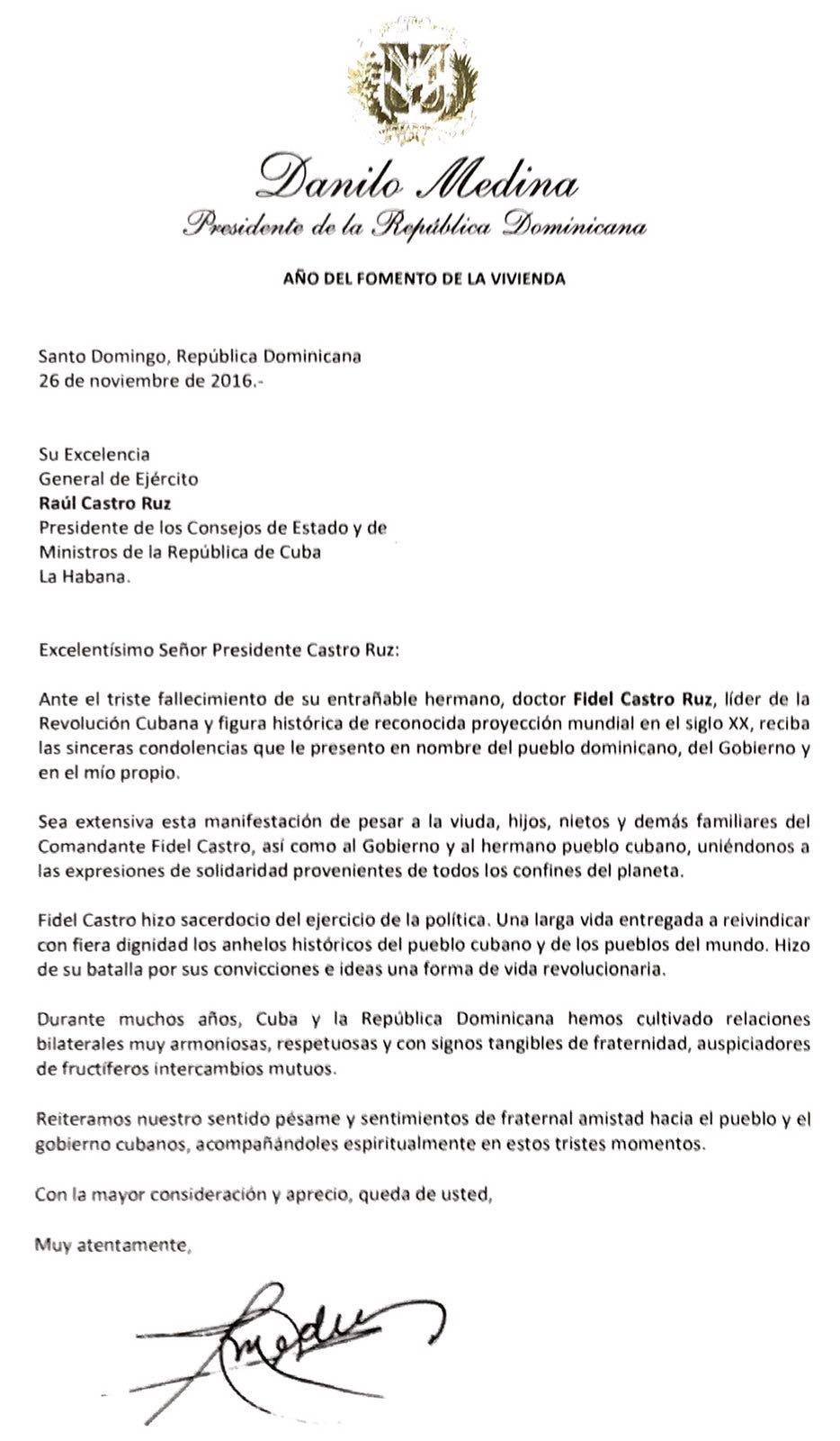 MANDATARIO - Danilo Medina lamenta fallecimiento de Fidel ... - photo#42