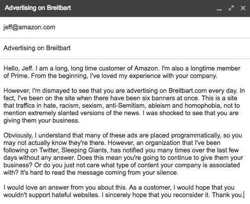 Sleeping Giants On Twitter Email We Sent Off To Jeff Bezos Amazon