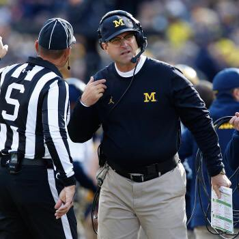 Here's Coach Harbaugh talking to Ohio State's best player. #MICHvsOSU #GoBlue https://t.co/rUOcwtYdzV