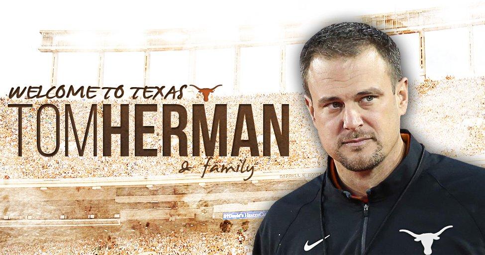Tom Herman named Texas Head Football Coach https://t.co/mMFFKCSBPd #HookEm https://t.co/nMCVRWDkZX