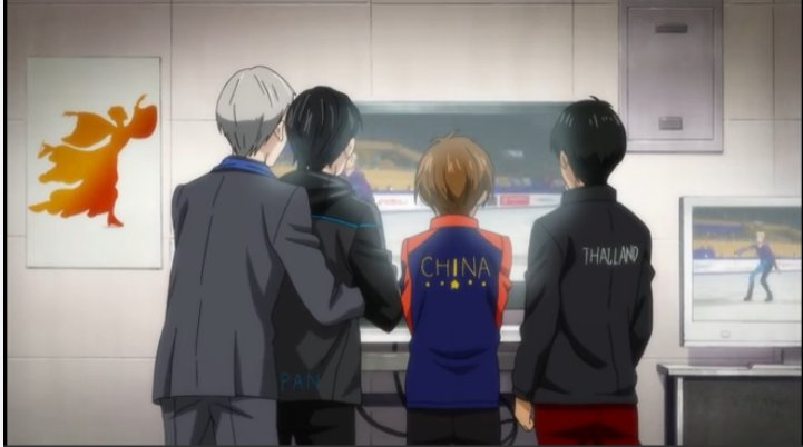 Victor and Yuri watching another skater's performance with Phichit and Guang-Hong, Victor with his arms around Yuri.