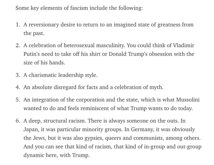 Key elements of fascism, courtesy of Stanford history professor @fturner: https://t.co/BTGasncAm8 https://t.co/xnmLS8kbwI