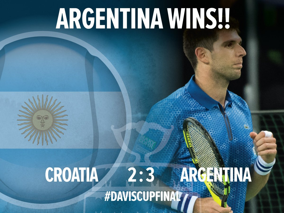 ARGENTINA WINS! @FedeDelbonis d. Ivo Karlovic 63 64 62 to clinch a first-ever #DavisCup title for Argentina! https://t.co/bQAcNyF7Qr