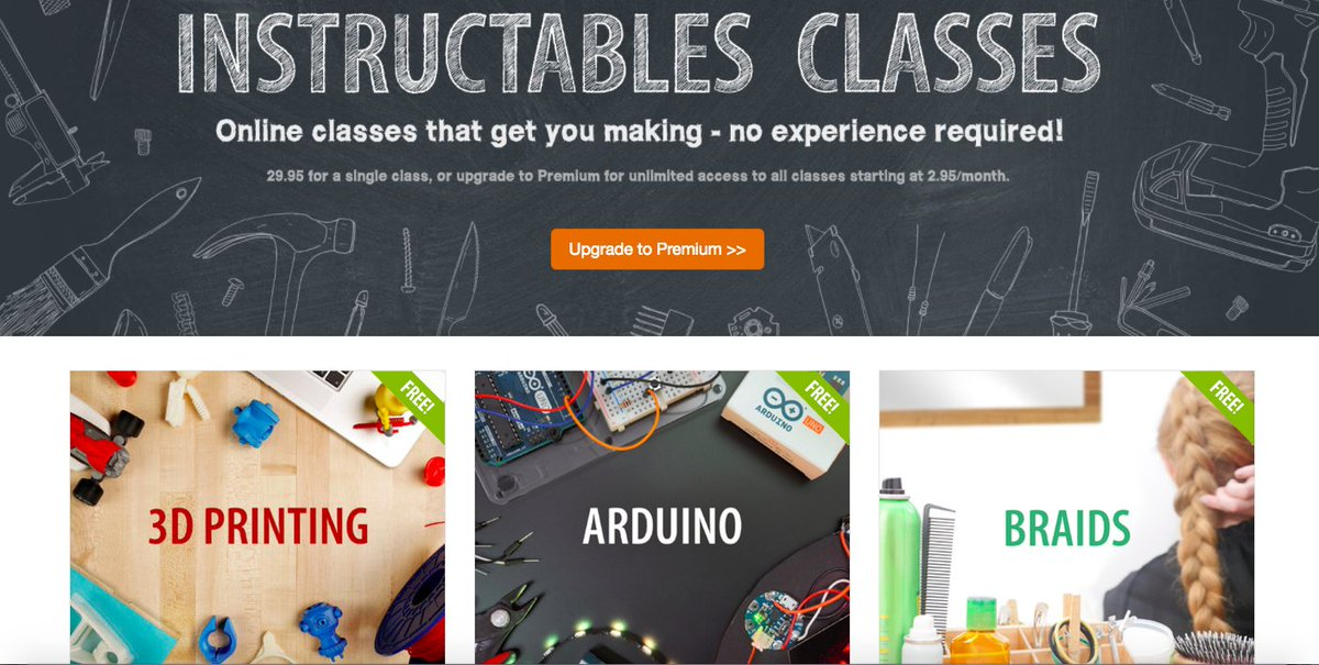 Free online classes for the maker in you and your students https://t.co/RZgX6AcK7q #Makeredu #Instructables https://t.co/FwyR19dhPE