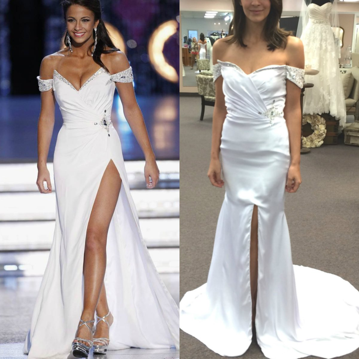 side-by-side of gown knock-off purchase