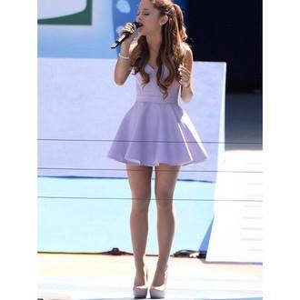 Dress: purple ariana grande lavender shoes wedding girly mini lavender spring style strapless