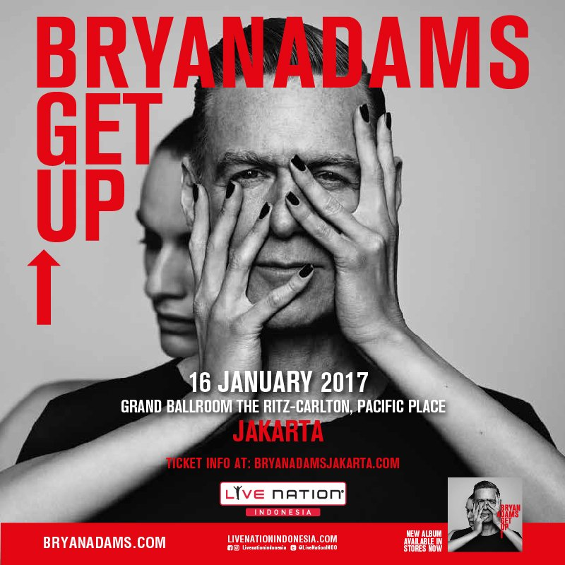 Bryan Adams Get Up Tour Indonesia. 16 January 2017 at Grand Ballroom The Ritz-Carlton Pacific Place Jakarta.   https://t.co/EplSfEkHzi https://t.co/59xbxEcMCO