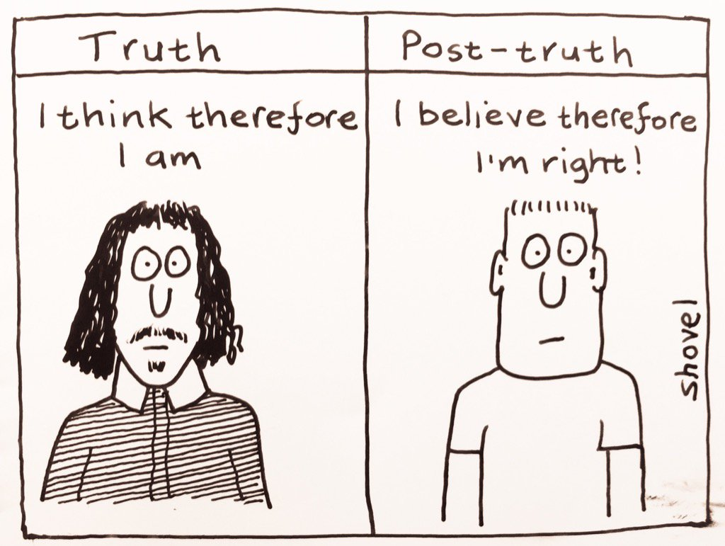 My cartoon - Truth vs Post-Truth #Brexit  #Trump  #r4Today   https://t.co/uPeaokus2z