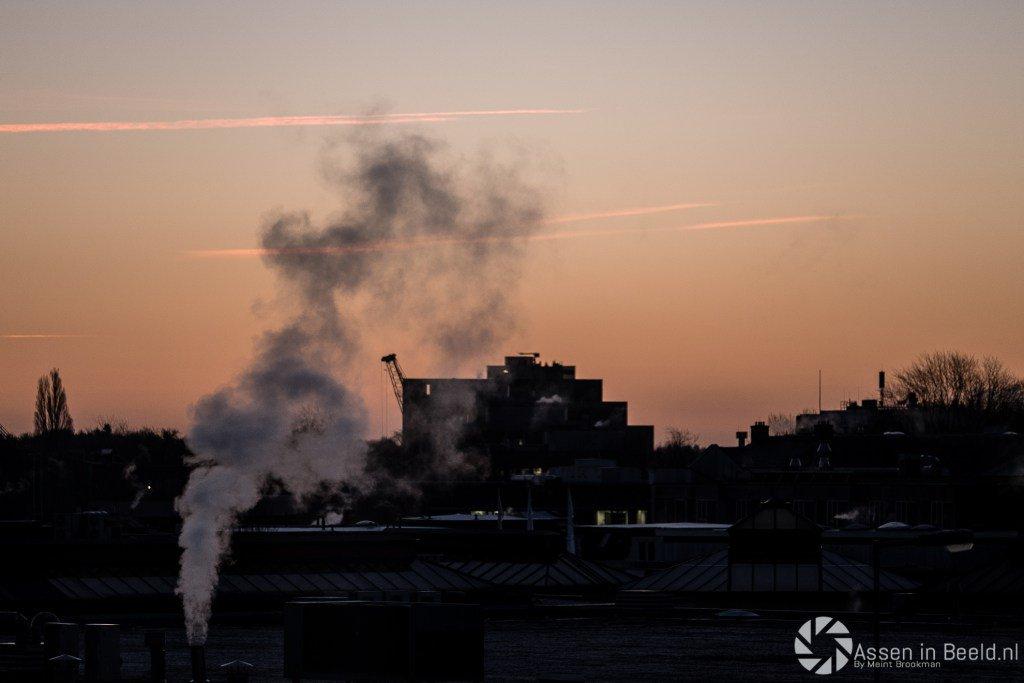 The skyline van Assen in de morgen
